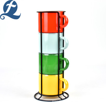 China manufacture colorful 4 set stoneware ceramic coffee cup with iron frame