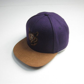 Children Felt Flat Bill Cap With Lion Embroidery