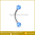 Surgical Steel 16G Synthetic Opal Ball Internally Threaded Curved Barbell Eyebrow Ring