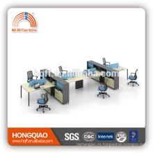 (MFC) PT-10-2FE estación de trabajo de oficina de diseño moderno para 2 personas estación de trabajo de oficina de MDF con marco de metal