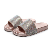 Custom LOGO crystal flat shoe wholesale women fashion slippers summer women's slides