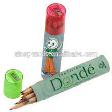 EN-71-123 certificated color pencil packing in cartoon paper tube with green transparent sharpener cap cheap pencil