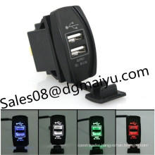 New Waterproof Automobile Motorcycle General 3.1A Dual Ubs Car Charger with LED Indicator 12-24V