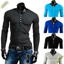 OEM моды Китай с длинным рукавом пустой хлопок футболка для мужчин