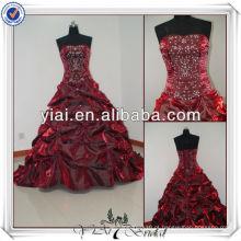 JJ0026 bordado vestido de bola vestido de casamento vermelho 2014