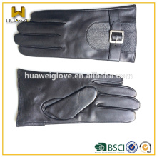 Fashion Men Leather Gloves ,2015 NEW STYLE Black Premium Leather Gloves with A Belt on the Back for Men