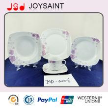 Dîner de dîner de la forme carrée 18PCS de forme carrée d'OEM avec la porcelaine en céramique