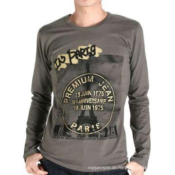 Baumwoll-Siebdruck-Mann-Gewohnheits-Mode-langes Hülsen-T-Shirt