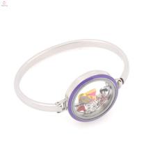 Novo design de aço inoxidável 316l mulheres flutuante pulseira pulseira