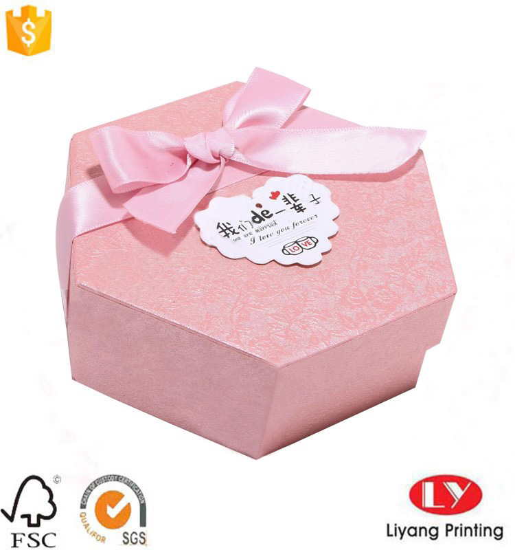 hexagon box with ribbon