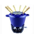 Gelbes Emaille-Gusseisen-Fondue-Set für heißen Topf