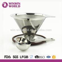 La olla de cono de acero inoxidable reutilizable vierte más de 2 tazas de goteador de café con cuchara