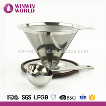 Reusable Stainless Steel Cone Kettle Pour Over 2 Cup Coffee Dripper with Scoop