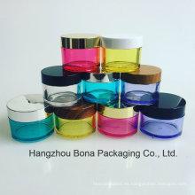 Tarro cosmético colorido de PETG con el tarro poner crema del tarro poner crema de bambú