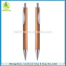 Рекламный логотип нажмите бамбука шариковой ручкой с металлическим зажимом