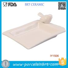 Tenedor de plato de jabón blanco de cerámica del pequeño pájaro personalizado