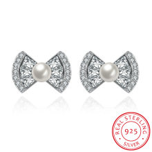 925 Sterling Silver Bowknot Shape Shell with Zircon Earring