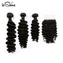 100% Human Hair Deep Wave Peruvian Tangle Free Bundles With Closure Wholesale Cheap 8A Grade