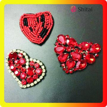 Heart red strass appliques with beaded
