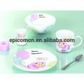Porcelaine de sécurité alimentaire décorée mignonne Ensemble de vaisselle en céramique de 3 à 5 pièces Ensemble de petit-déjeuner pour enfants