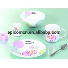 Cute decoração de porcelana de segurança alimentar 3 a 5 pedaço de cerâmica conjunto de jantar conjunto de pequeno-almoço para crianças