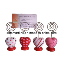 Valentine′s Heart Clip Holder, Metal Message Clip, Business Card Holder