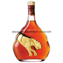 Venta al por mayor vacía redonda Super Flint vidrio whisky Brandy Xo botella de vino, licor