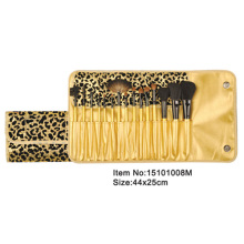 15pcs golden plastic handle animal/nylon hair makeup brush tool set with bling golden printed PU case
