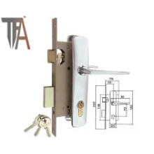 Manijas de aluminio y cerradura de embutición cromada