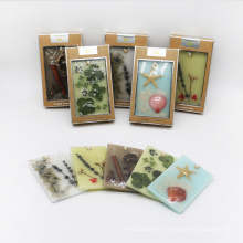 scented wax hanging sachet with nature decoration in kraft box