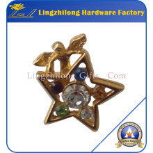 3D Gold Rhinestone Angel Badge