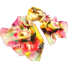 Digital print scarf silk scarf with flower printing