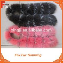 Qualidade superior tingido 100% real guarnição de pele de raposa