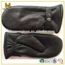Men's black sheepskin ladies genuine leather gloves mitten