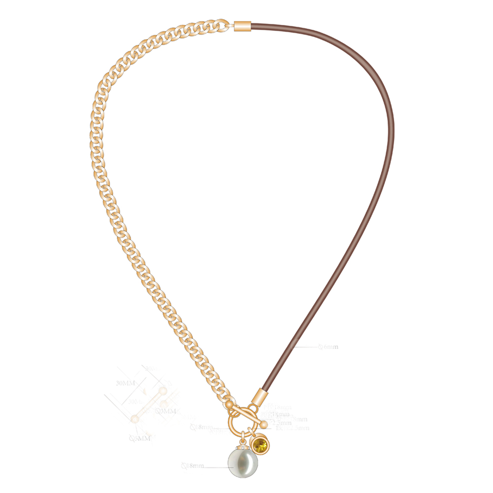 Fashion Gold Chain With Pearl And Diamond Pendant