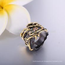 Mais recentes anéis de casamento de ouro preto moda de ouro dos homens anéis de coral preto jóias