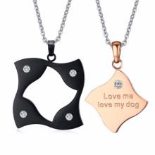 extravagante Designs Kristall Edelstahl Doppel Anhänger Sternzeichen Halskette Schmuck für Mädchen