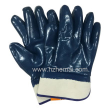 Fully 3 Dipped Blue Nitrile Oil Filed Work Safety Glove (HCN450)