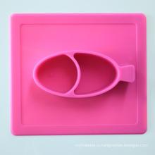 Новый дизайн Baby силиконовый коврик с ужином миску набор