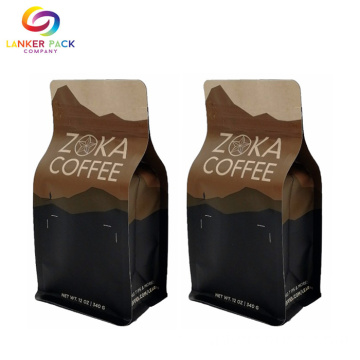 Resealable Custom Quad Seal Coffee Packaging Bag