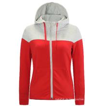 Plain Zip-up Single Color Frauen Hoodies in Masse