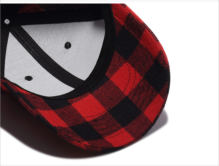 Cotton black and red checkered cap baseball cap (7)