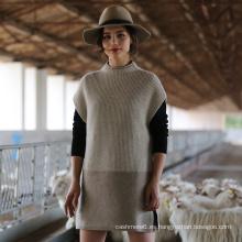 Suéter 100% de la cachemira de las mujeres de la manga del casquillo del nuevo estilo 2017