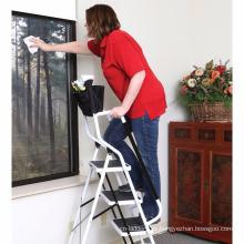 portaherramientas acoplable plegable escalera de seguridad de 4 pasos, escalera de barandillas laterales acolchadas