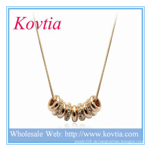 Fasihon Gold und Kristall neun Ringe in dicken Gold Tone Schlange Kette Halskette