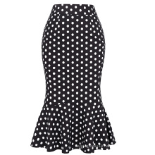 Belle Poque Vintage Polka Dots Office Lady Skirts KK000220-1