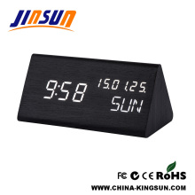 Fresh Wooden Calendar Led Clock Battery Operated