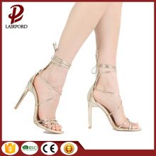Gold lace up thin heel beautiful sandals