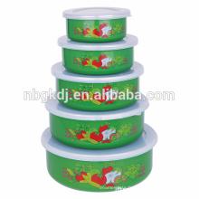 Bol à glace en émail 5 pièces de mode verte et chinoise