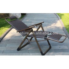 Outdoor High Back Rattan Chair /Weight Capacity Durable Rattan Lay Chair/Fold able Armrest Chair with Pillow and Armrest